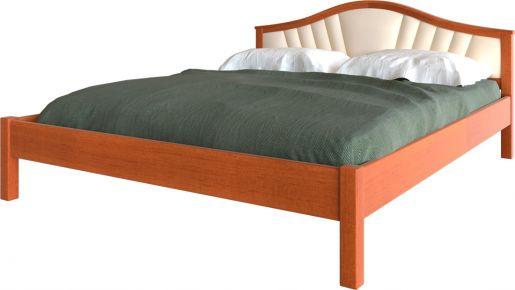 Фото Кровать деревянная «Италия с мягким изголовьем» Массив Ольхи - sofino.ua
