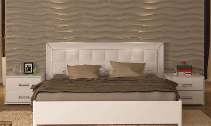 Кровать белая двуспальная «Белла рамка» (М) 1,6   гл. белый