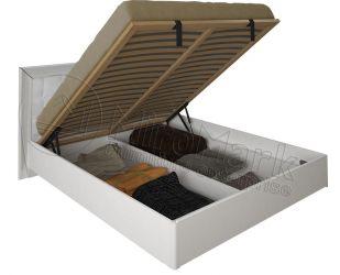 Кровать белая двуспальная «Белла рамка» (М) с подъемным механизмом 1,6 | гл. белый