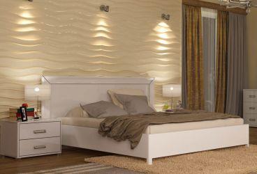 Кровать белая двуспальная «Белла рамка» 1,6   гл. белый