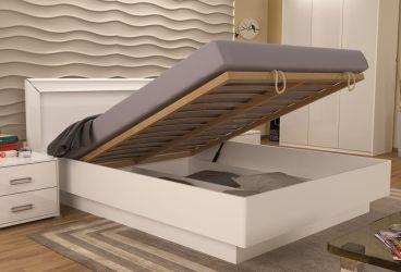 Кровать белая двуспальная «Белла рамка» с подъемным механизмом 1,6 | гл. белый