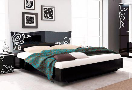 Двоспальне ліжко ДСП Міромарк Богема з механізмом (Чорний глянець)