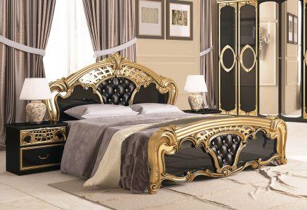 Ліжко для спальні Міромарк Реджина чорна ДСП Глянець чорний + Золото