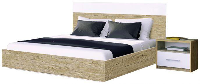 Фото Двуспальная кровать «Соната» | Дуб Сан Марино - sofino.ua