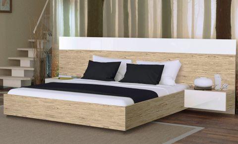 Фото Двуспальная кровать «Соната с тумбами»   Дуб Сан Марино - sofino.ua