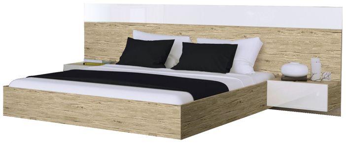 Фото Двуспальная кровать «Соната с тумбами» | Дуб Сан Марино - sofino.ua