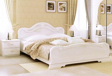 Кровать белая двуспальная «Футура» с каркасом 1,6 | гл. белый