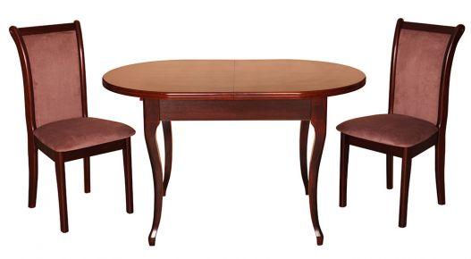 Фото Стол раскладной деревянный 126-160*81 см «Вена-3» + стул «Марсель» Орех темный - sofino.ua