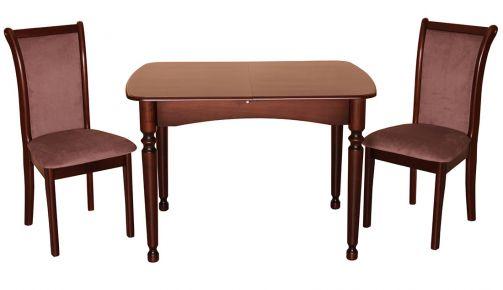 Фото Стол раскладной деревянный 108-140*73 см «Кёльн» + стул «Марсель» Орех темный - sofino.ua