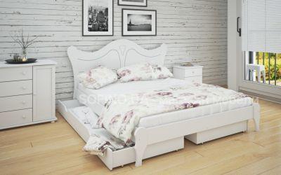 Кровать двуспальная Розали | л-217 | 140*190 | с ящиками | белый