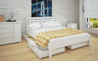Кровать двуспальная «Л-219» 140*190 | с ящиками | белый