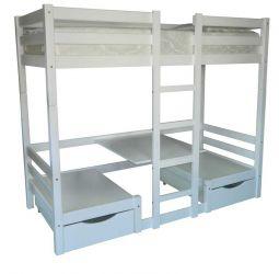 Кровать двухъярусная «Л-304» 90*200 | с ящиками | белый