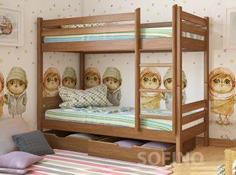 Кровать-трансформер двухъярусная | Кристи | л-302 | 90*200 | с ящиками | белый
