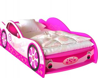 Кровать-машинка «Гламур» цвет: розовы | 80*190