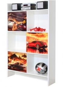 Шкаф книжный «Гонки» художественная печать | белый