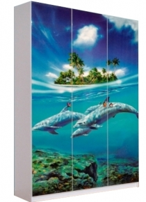 Шкаф 3Д «Дельфины» художественная печать | белый