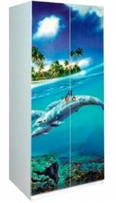 Шкаф 2Д «Дельфины» художественная печать | белый