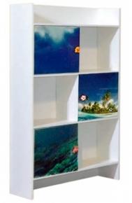 Шкаф книжный «Дельфины» художественная печать | белый