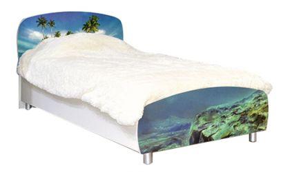 Кровать односпальная 90*200 «Дельфины» художественная печать | белый