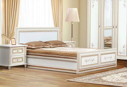 Ліжко для спальні Світ меблів Сорренто ДСП Прованс світлий патина золото