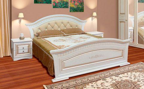 Ліжко для спальні Світ меблів Ніколь М'яка МДФ Біле дерево патина