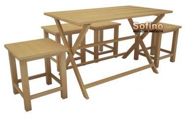 Стол Парма 60*90 + 4 табурета Софита | Лак