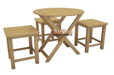 Стол Регина D70 + 4 табурета Софита | Лак