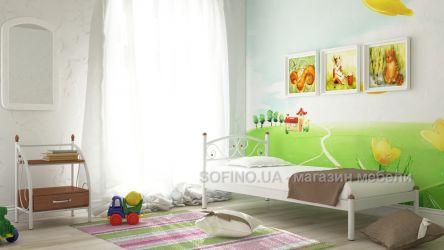 Кровать односпальная «Вероника мини» 80*190 | Белый бархат