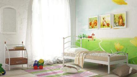 Кровать односпальная «Маргарита мини» 80*190 | Белый бархат