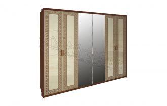 Шкаф 6д «Виола» с зеркалом | Вишня бюзум