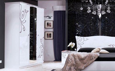 Фото Шкаф платяной с зеркалом, шелкография, глянец белый «Богема 3Д» - sofino.ua