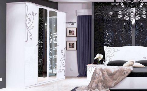 Фото Шкаф платяной с зеркалом, шелкография, глянец белый «Богема 4д»  - sofino.ua