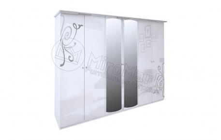Шкаф 6д «Богема» с зеркалом | Глянец белый