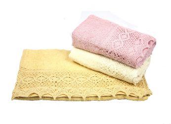 Набор махровых полотенец «S.L.Lace» 30*50 | бежевый, кремовый, т.розовый | 3 шт.