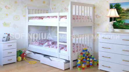Кровать-трансформер двухъярусная «Зарина» 70*190 с ящиками | Белый