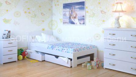 Кровать детская Ирис Мини - 70*190 с ящиками | Белый