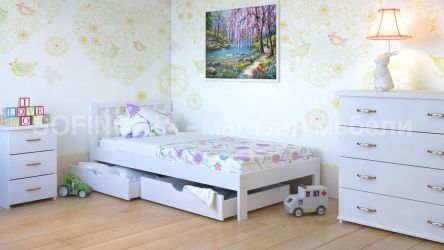 Белая кровать с ящиками