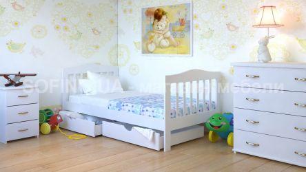 Кровать детская Хлоя - 70*190 с ящиками без планок от стены | Белый
