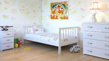 Кровать детская Медея - 70*190 без планок от стены | Белый