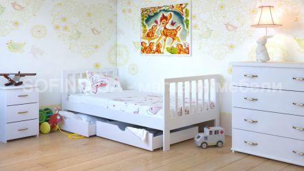 Кровать детская Медея - 70*190 с ящиками без планок от стены | Белый