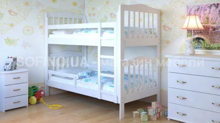 Белая кровать двухъярусная с бортиком