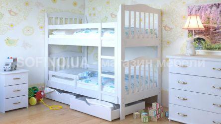Белая кровать двухъярусная с ящиками и бортиком