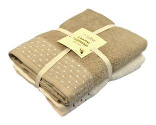 Набор махровых полотенец 128197 68*128 | Кремово-кофейный