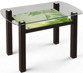 Стол обеденный «SW7» 110*70 (Верх прозрачный, низ рисунок)