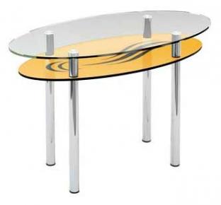 Стол обеденный «O3» 120*60 (Верх прозрачный, низ рисунок)