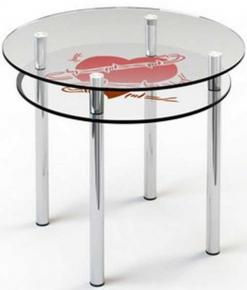 Стол обеденный «R4» D 90 (Верх прозрачный, низ рисунок)