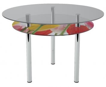 Стол обеденный «R2» D 90 (Верх прозрачный, низ рисунок)