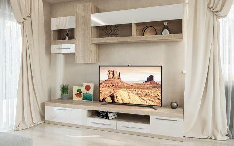 Стінка ТВ «Пальмира» дуб сонома | белый лак