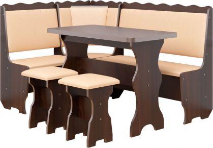 Фото Кухонный уголок «Граф» с табуретами и простым столом 100*60 - sofino.ua