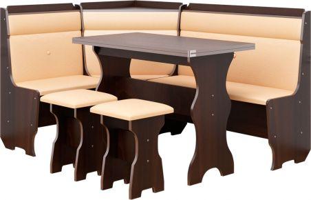Фото Кухонный уголок «Кардинал» с табуретами и простым столом 100*60 - sofino.ua